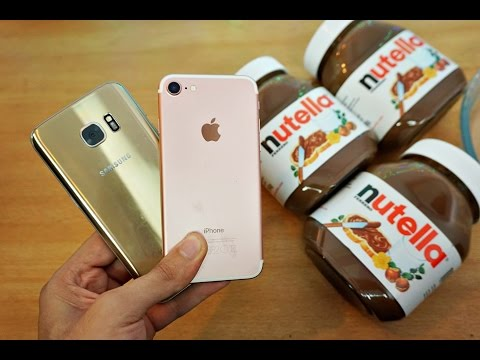 iPhone 7 vs Samsung Galaxy S7 Nutella Freeze Test - Will They Survive?! (4K)