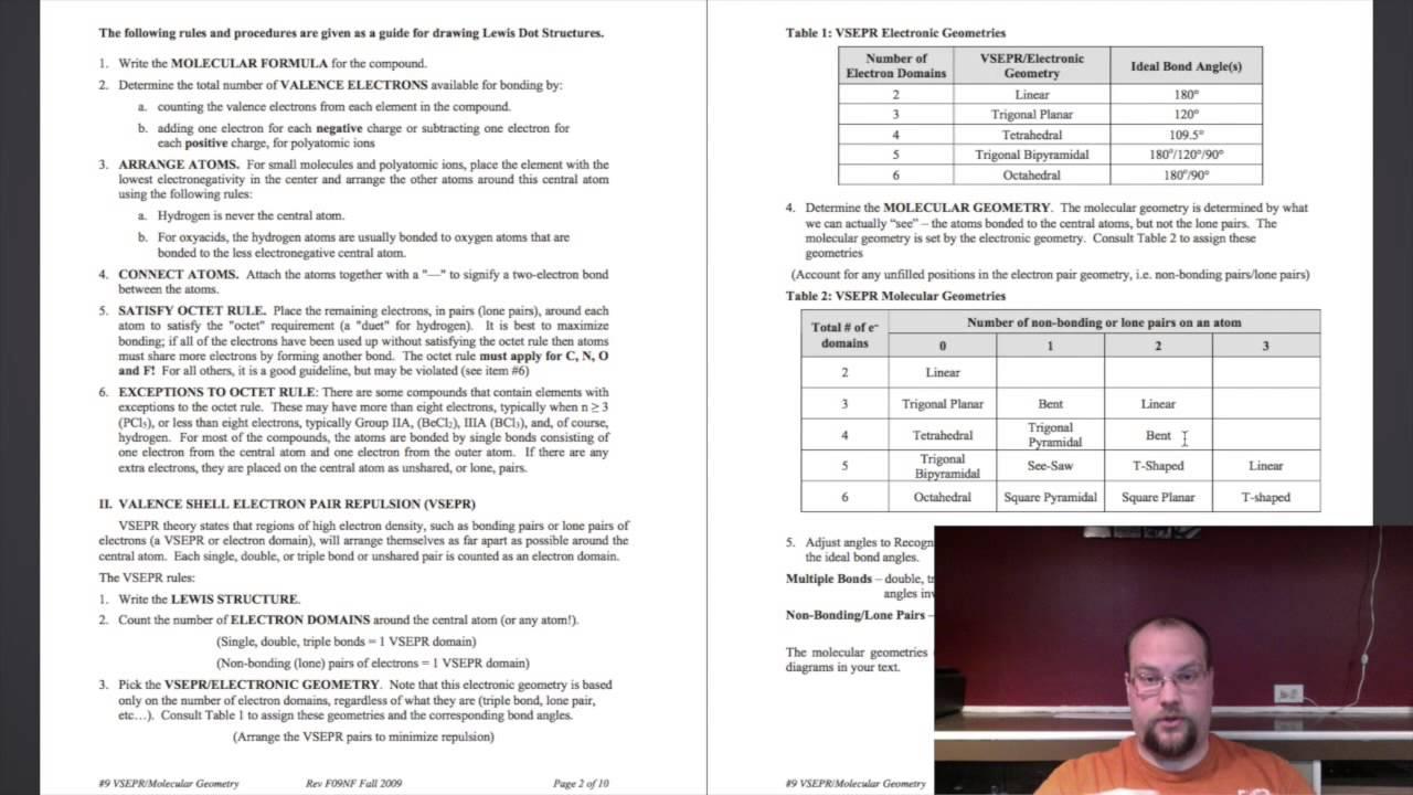 Worksheets Vsepr Worksheet vsepr worksheet explained youtube explained