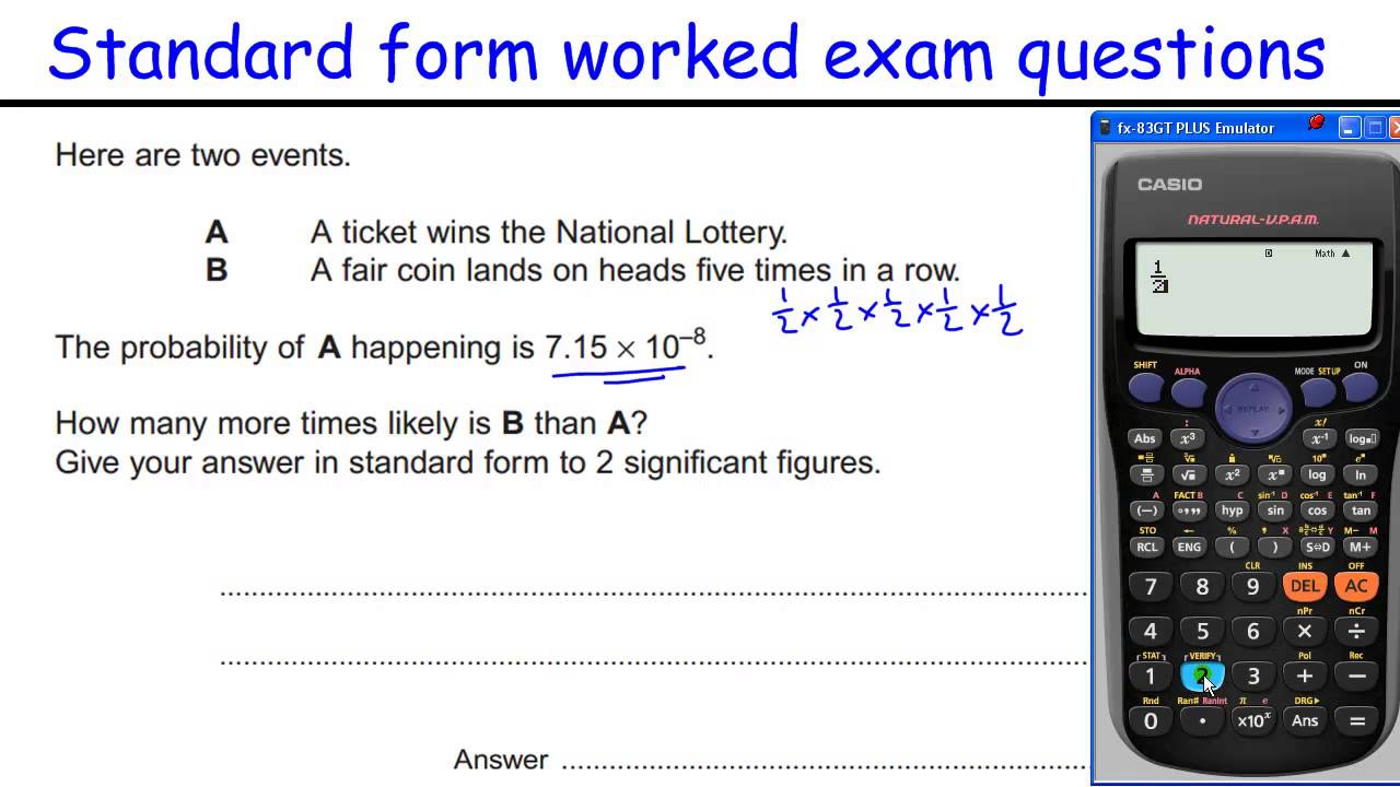 How To Do Standard Form Gcse Maths Revision Higher Level Worked Exam  Questions  Youtube