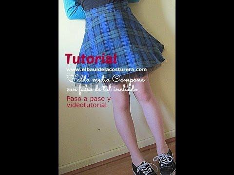 Cómo hacer una falda circular media campana - YouTube fe4bc450e0c0