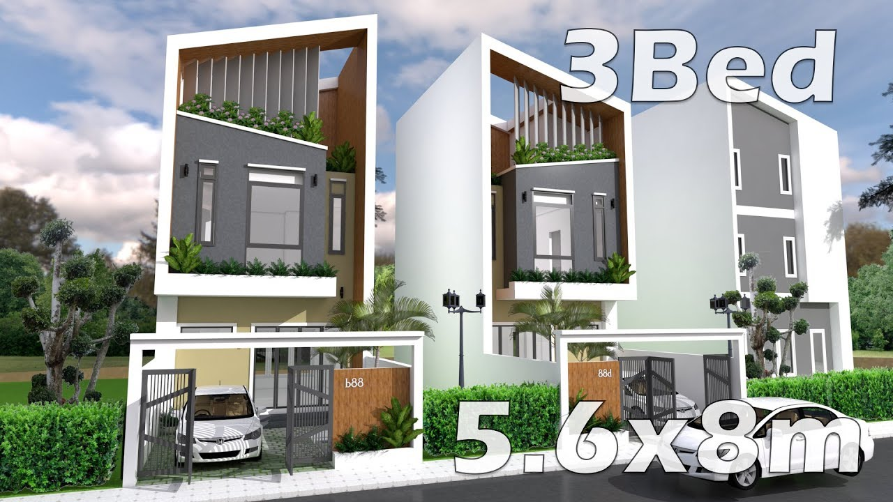 5.6x8m Small House Design Plan with Interior   3 Bedrooms - YouTube