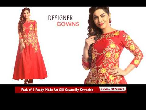 Festive Deal Pack Of 2 Ready Made Art Silk Gowns By Khwaaish Youtube