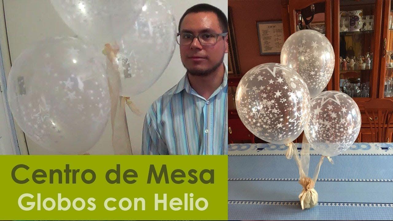 Centro de mesa con globos con helio y tela youtube - Llenar globos con helio ...