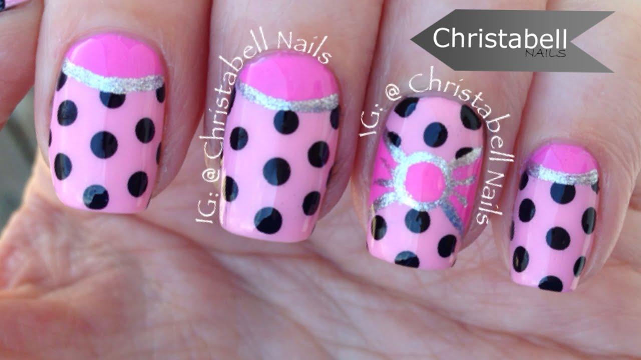 christabellnails pink half-moon, polka-dot and bow nail art