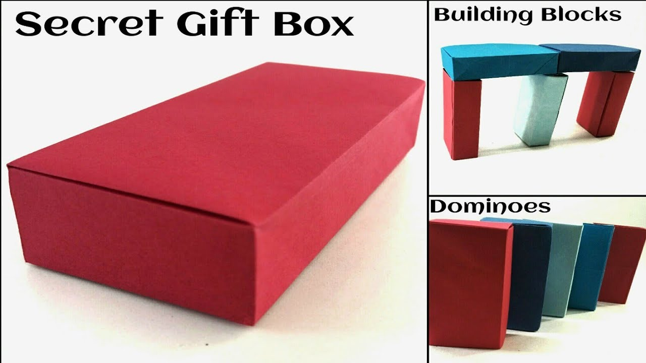 Useful Action Toy Origami Paper Concealed Secret Rectangular Gift Box Dominoes Building Blocks