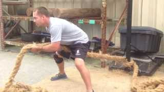 Wounded Warrior Jeremy Muncert working with Battling Ropes during his Underground Workout!