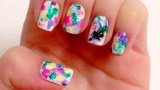 Spring Bohemian watercolor manicure - Natalie's Creations