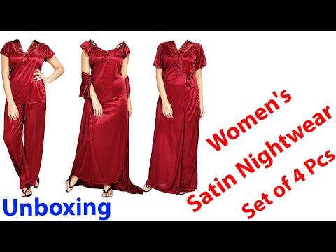 #amazon Shopping Cierge Women's Satin Nightwear Set Of 4pc Nighty,wrapgown,top,capri Unboxing&review| Secret Nighty