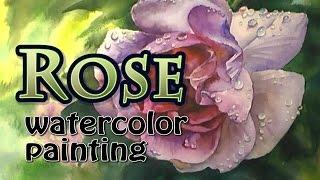 Rose, watercolor painting, Роза акварелью, irishkalia(Скоростное видео о том, как я рисовала розу акварелью. Подробнее читайте в блоге http://irishkalia.blogspot.ru/2015/07/blog-post_12..., 2015-07-10T17:08:06.000Z)