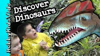 Discover the Dinosaurs Exhibit! Animatronics w/HobbyFamily + Rides HobbyKidsVids thumbnail