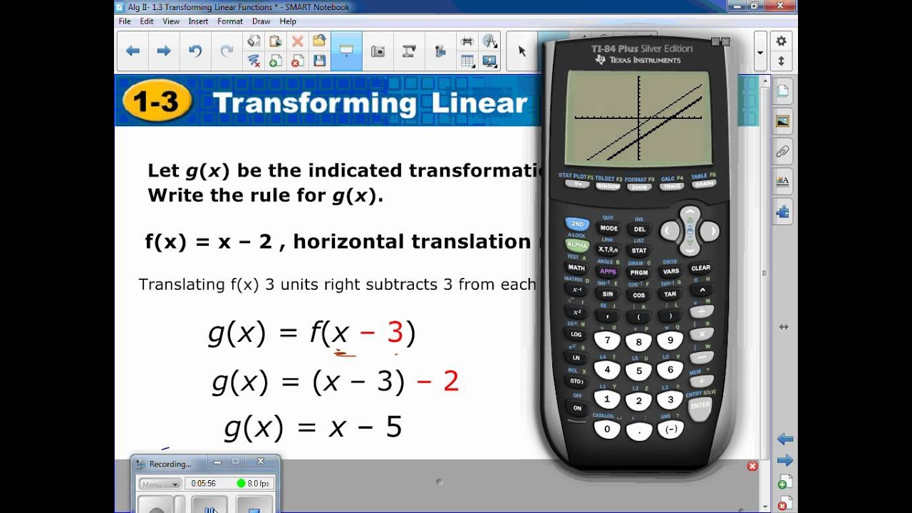 Algebra II- 1.3 Transforming Linear Functions Pt 1 - YouTube