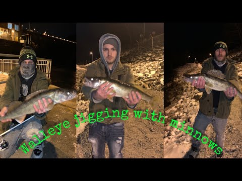 Winter Jigging For Walleye With Minnows At Cheat Lake Dam.