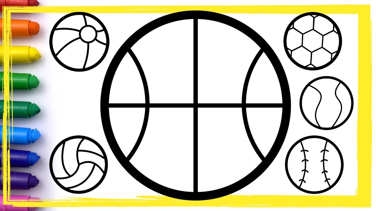 coloring 6 balls soccer ball beach ball drawing and