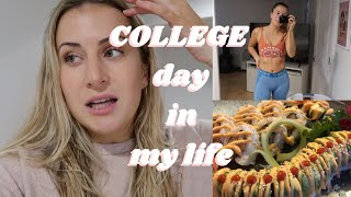 PRODUCTIVE MONDAY COLLEGE DAY IN MY LIFE | leg day, registration, anxiety, sushi