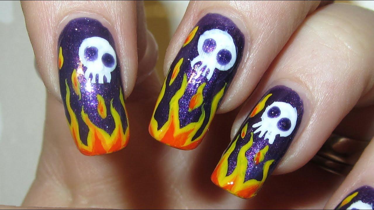 Badass Flame Design With Cute Skulls Shimmery Dark Purple Backround