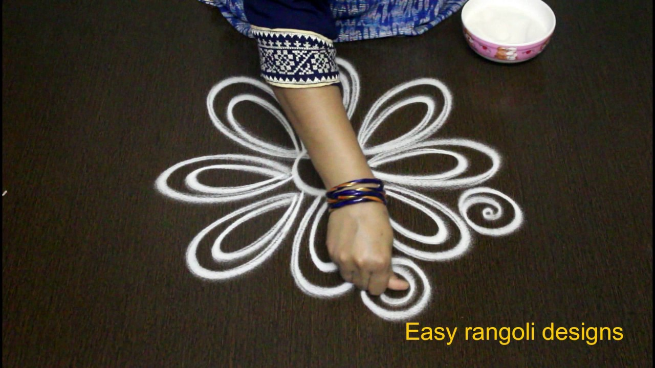 Latest Simple Rangoli Designs With Out Color Dots Easy Art Muggulu Design