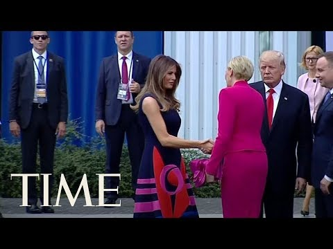 Watch Poland's First Lady Pass By President Trump's First Attempt At A Handshake | TIME