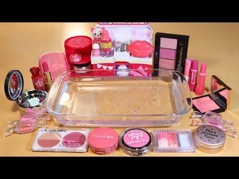 """Theme Series #22 """"Pink Makeup"""" Mixing Makeup And glitter Into Clear Slime! """"Pink Makeup Silme"""""""
