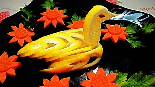 Птица из лимона! Bird of lemon! Украшения из фруктов! Decoration of fruit!