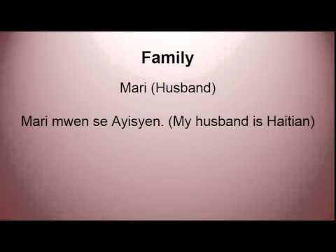 Family Vocabulary Haitian Creole