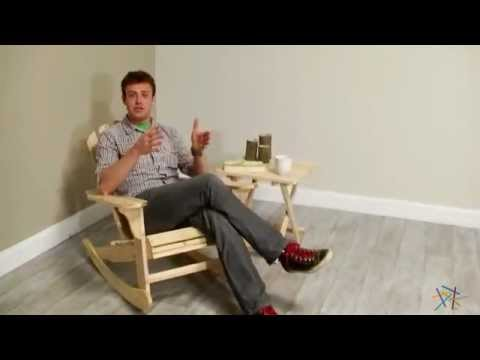Natural Adirondack Rocking Chair with Side Table - Product Review Video