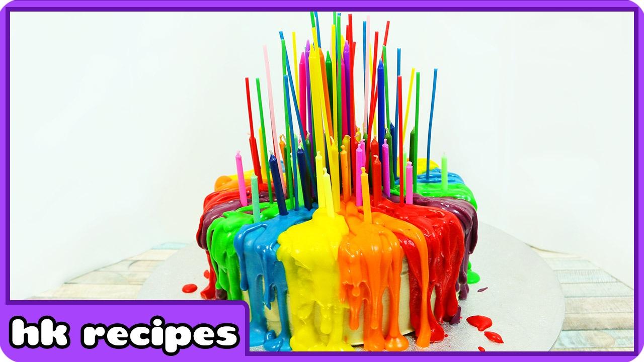 Rainbow Cake With Melting Candles Tutorial Birthday Cake