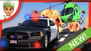 Desenho animado de carros. Criminosos voam de helicóptero. Carros policia desenho.