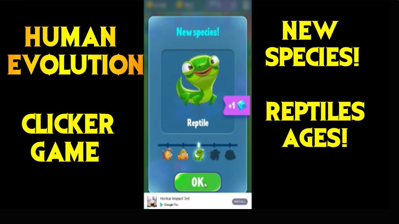 Lizard ages! Human Evolution Clicker Gameplay!