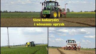 Siew kukurydzy i wiosenny oprysk 2017 - John Deere 6130R JD6330P & JD5720 *Podkarpacie*