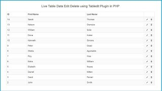 Live Table Data Edit Delete using Tabledit Plugin in PHP
