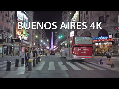 Buenos Aires 4K - Night Drive - Driving Downtown