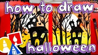 HAPPY HALLOWEEN! How To Draw A Halloween Night Silhouette