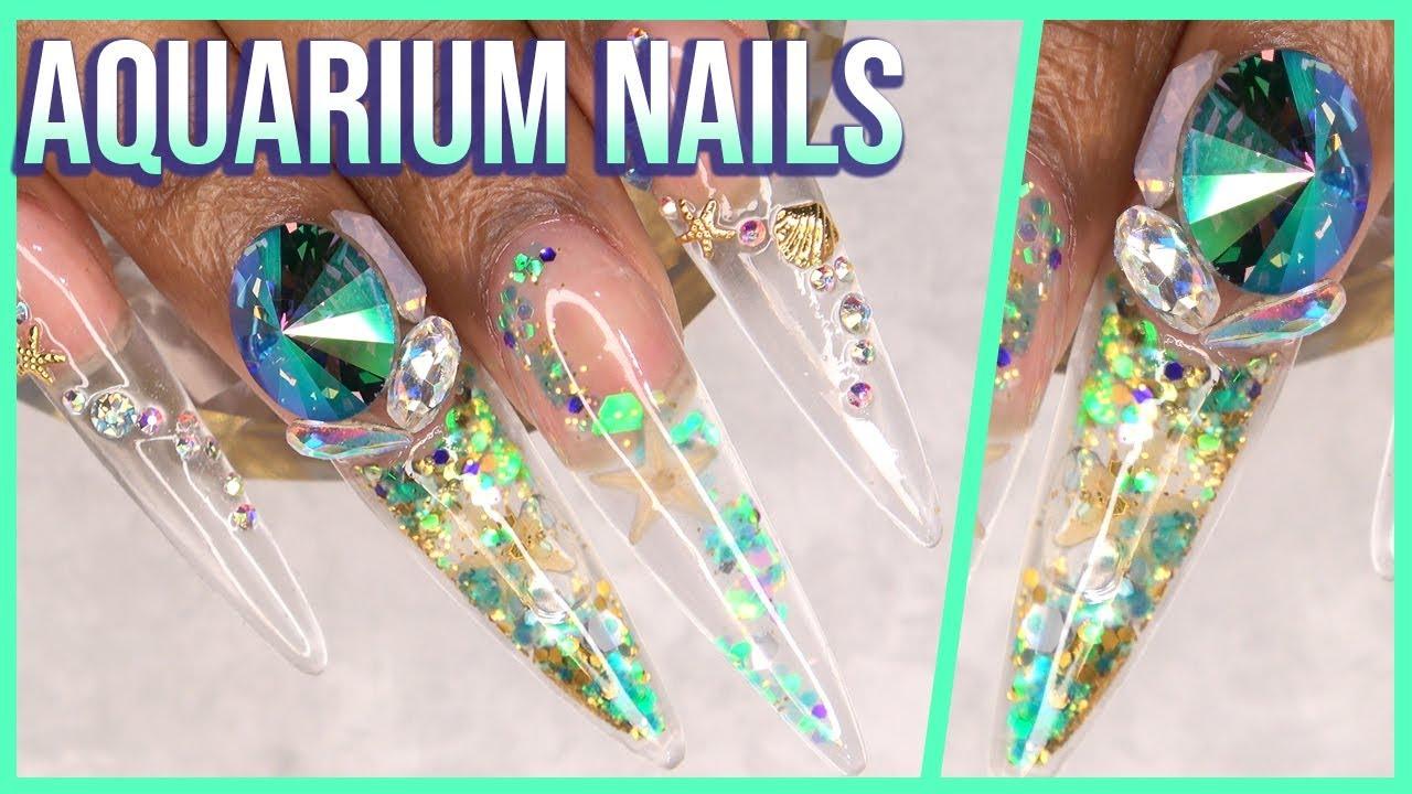 acrylic nails tutorial - aquarium