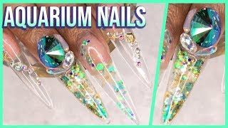 Acrylic Nails Clear Stiletto Aquarium Nails - LongHairPrettyNails