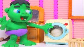 BABY HULK USES THE WASHING MACHINE ❤ Frozen Elsa, Spiderman & Hulk Play Doh Cartoons For Kids