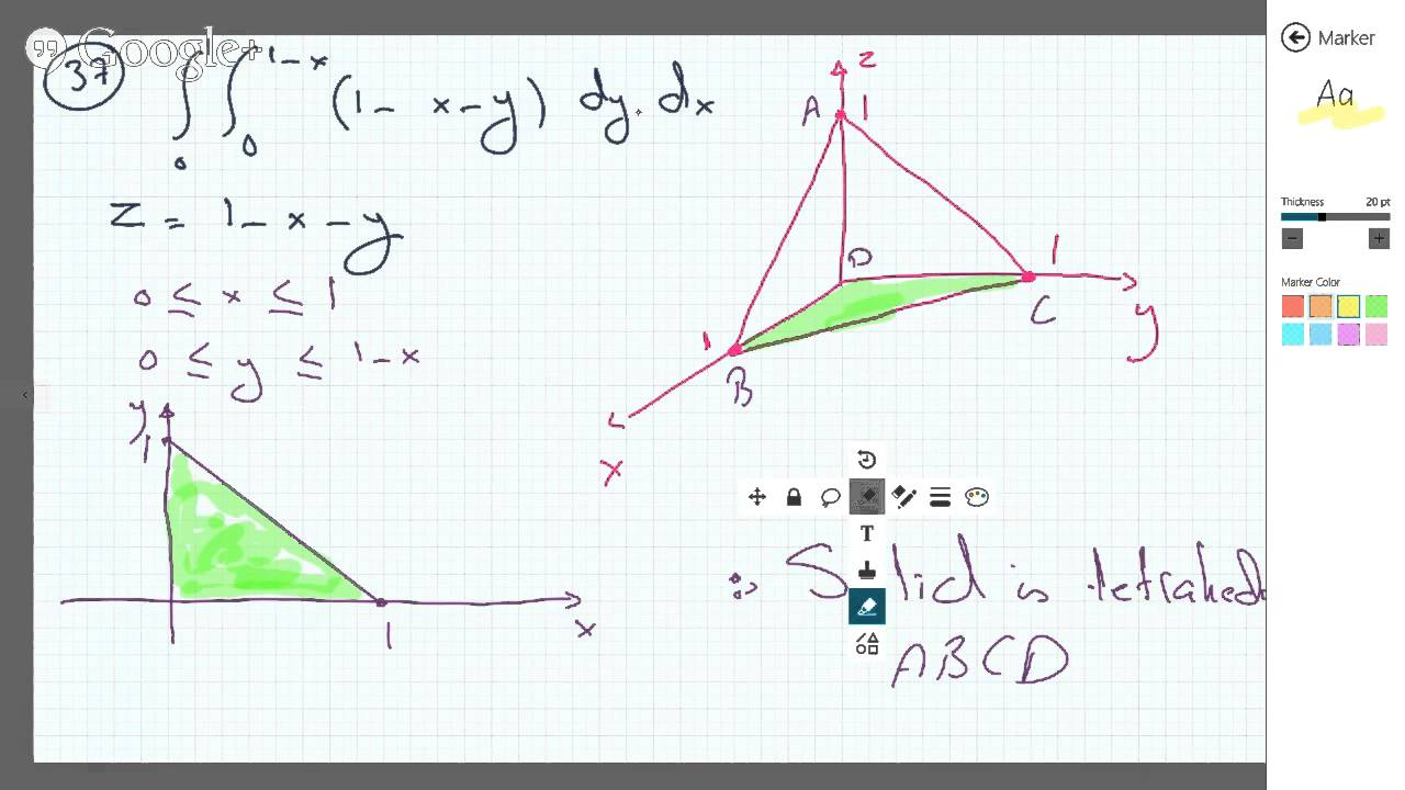 Sketching 3d Solid (tetrahedron) Represented By Double Integral
