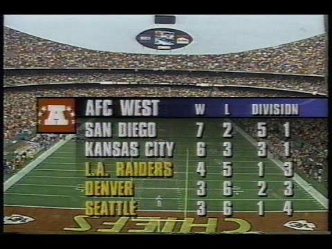 1994 NFL Football: Chargers (7-2) @ Chiefs (6-3)
