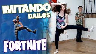 IMITATING the FORTNITE dances | Sofía Moreno ft Angel Silva