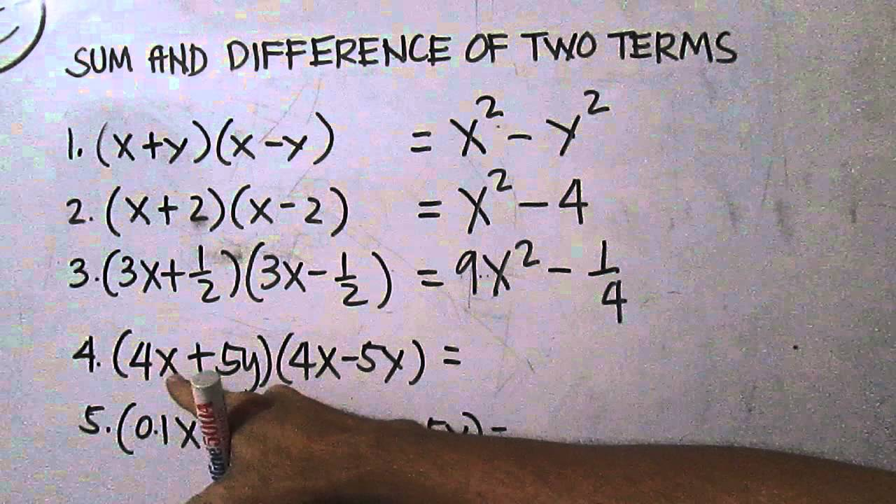 Sum And Difference Of Two Terms Youtube