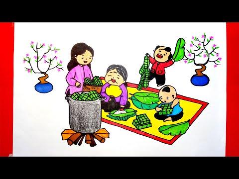 Vẽ tranh gói bánh chưng ngày Tết đơn giản - Vẽ tranh gia đình gói bánh Chưng ngày Tết
