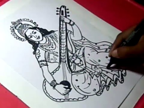 How to Draw LORD SARASWATI DRAWING step by step for KIDS