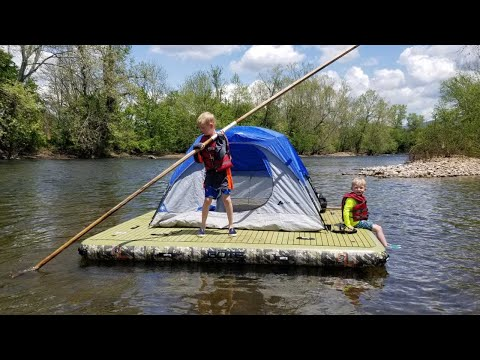 Floating River On Inflatable Dock - Fishing Catch Cook Camp