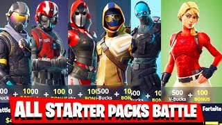 Fortnite STARTER PACKS batalha: Rogue Agent VS wingman vs The Ace VS Summit vs Cobalt vs Laguna