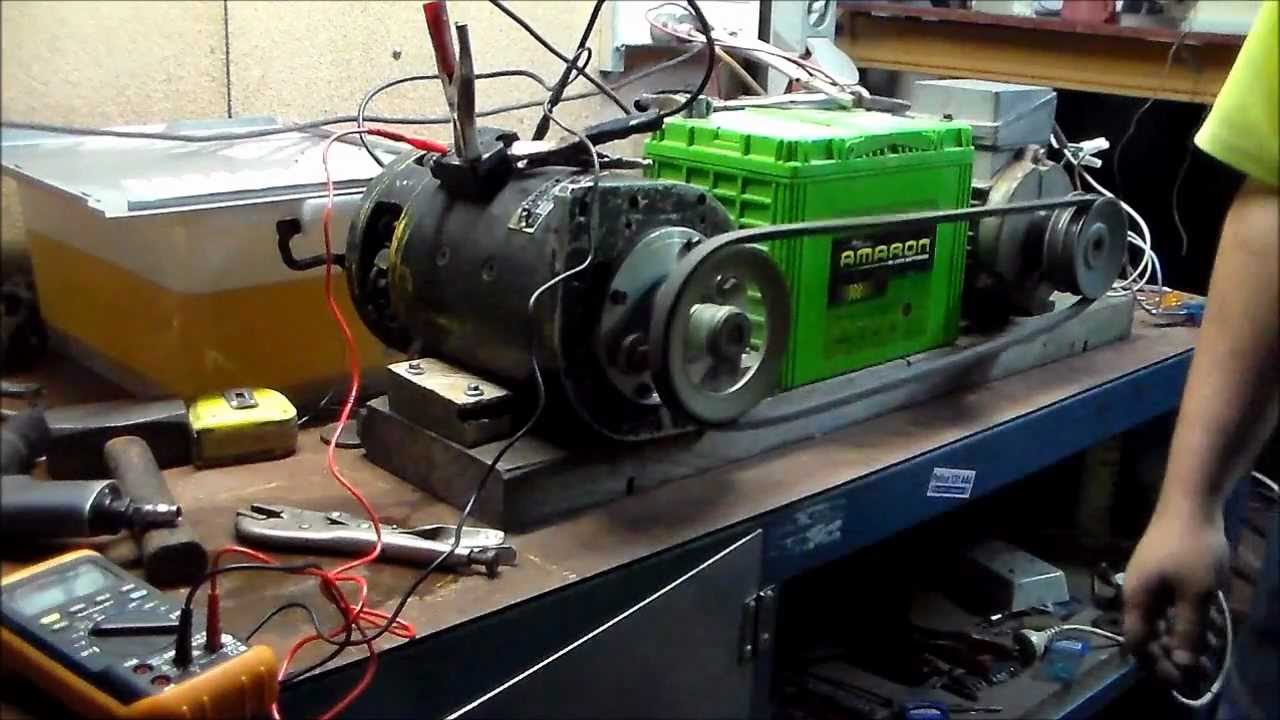 Big Dc Motor Attempt To Run As Generator Youtube