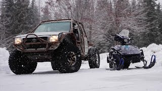 Racing in the Snow Tacoma Vs Phazer - We Broke it Again!