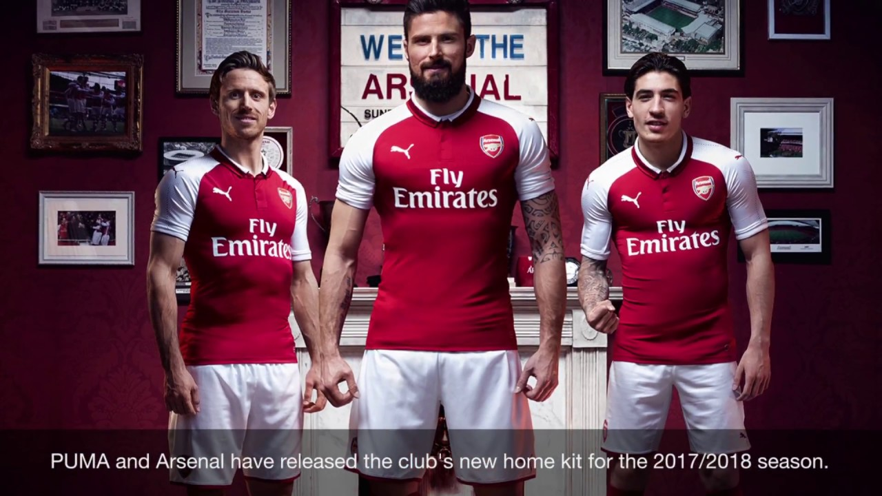 89c917575 PUMA Arsenal 2017 2018 Home Jersey - YouTube