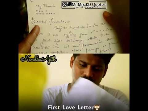 First Love Letter Hd Whatsapp Status Tamil Youtube
