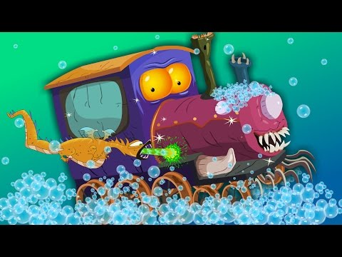 Scary train | car wash | Halloween vehicles for children