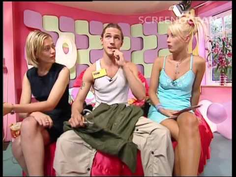 A young Tom Hardy modelling on the Big Breakfast bed with Denise Van Outen