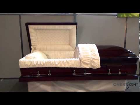 Mahogany dark solid wood with velvet interior casket youtube for Black casket with red interior